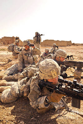 Down On The Ground Photograph - U.s. Soldiers Engage In A Small-arms by Stocktrek Images
