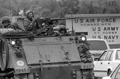 U.s. Soldiers In An Armored Personnel Art Print