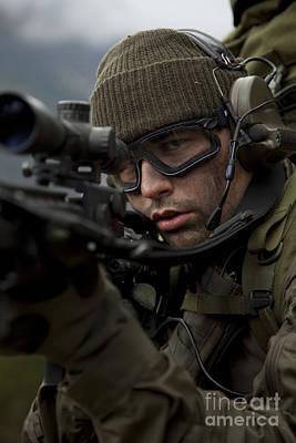 U.s. Special Forces Soldier Stays Alert Art Print by Tom Weber