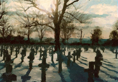 Snow Painting - Us War Cemetery In Margraten by Nop Briex