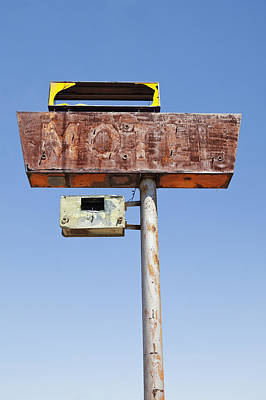 Y120907 Photograph - Usa, Arizona, Wakeup, Low Angle View Of Rusted Motel Sign by Bryan Mullennix