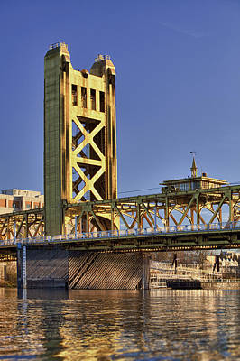 Y120907 Photograph - Usa, California, Sacramento, Tower Bridge Over Sacramento River by Bryan Mullennix