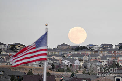 Art Print featuring the photograph Usa Flag And Moon by Cheryl McClure
