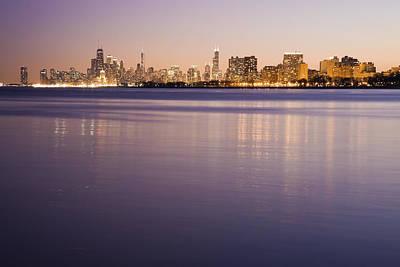 Usa, Illinois, Chicago, City Skyline Over Lake Michigan Art Print