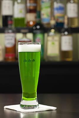 Photograph - Usa, Illinois, Metamora, Beer Mug With Green Beer by Vstock LLC