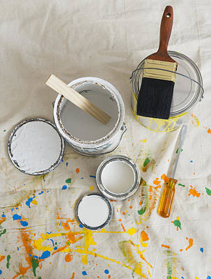 Paint Cans Photograph - Usa, New Jersey, Jersey City, Paint Cans And Paintbrushes On Drop Cloth by Tetra Images