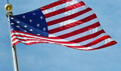 Y120907 Photograph - Usa, New York City, 15 Star Us Flag by Tetra Images