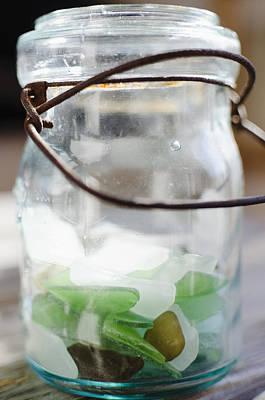 Usa, New York State, New York City, Brooklyn, Sea Glass In Jar Art Print by Jamie Grill
