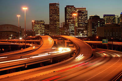Usa, Texas, Houston City Skyline And Motorway, Dusk (long Exposure) Art Print by George Doyle