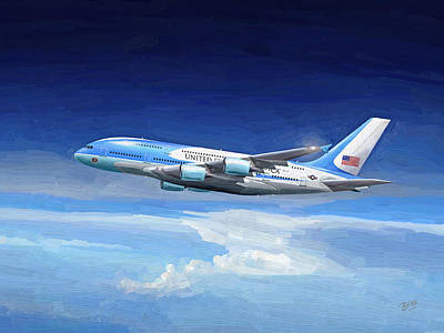 Painting - Usaf Airbus A380 Air Force One by Nop Briex