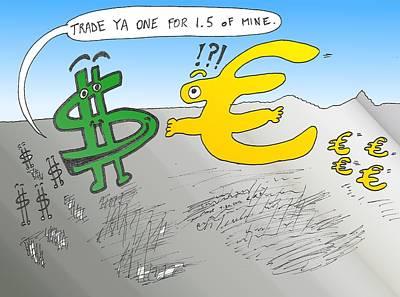 Financial Mixed Media - Usd Eur Trade Cartoon by OptionsClick BlogArt