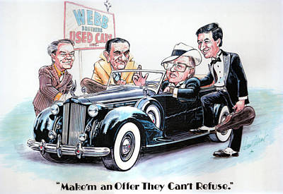 Caricature Drawing - Used Car Salesmen by Harry West