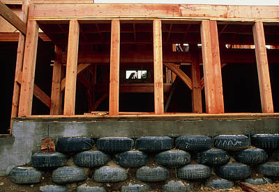 Nederland Colorado Photograph - Used Tyre Wall by Alan Sirulnikoff