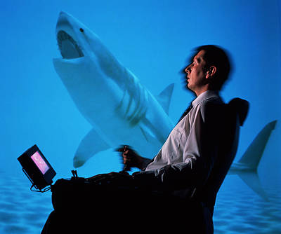User In Reality Centre Simulator (underwater Set) Art Print by David Parker