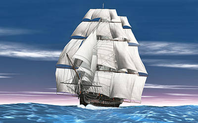 Digital Art - Uss Constitution by Walter Colvin