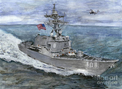 Navy Painting - Uss Gridley by Sarah Howland-Ludwig