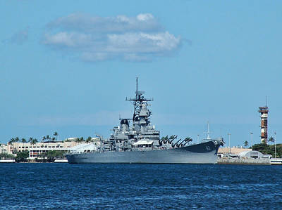 Photograph - Uss Missouri At Pearl Harbor by Ken Smith