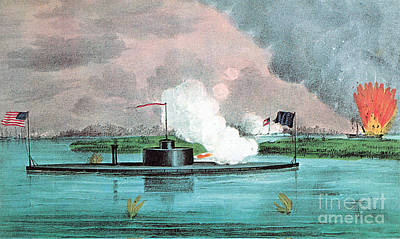 Using The River Photograph - Uss Montauk Destroys Rebel Steamship by Photo Researchers