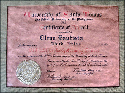 Photograph - Ust 1968 Certificate Of Merit by Glenn Bautista