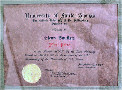 Photograph - Ust 1969 Certificate Of Merit by Glenn Bautista