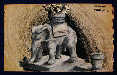 Drawing - Ust Elephant Guard 1963 by Glenn Bautista