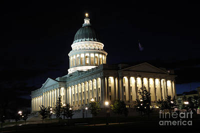 Utah Capitol At Night Art Print by Gary Whitton