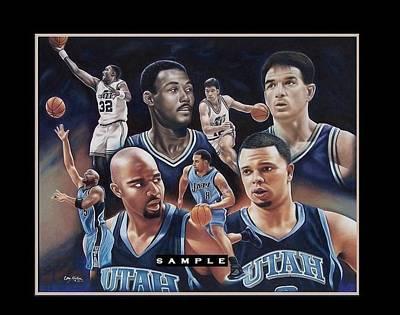 Utah Jazz Drawing - Utah Jazz - Passing The Torch by Cory McKee