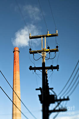Dogpatch Photograph - Utility Pole And Smokestack by Eddy Joaquim