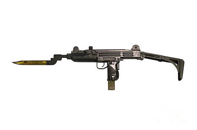 Uzi 9mm Submachine Gun With Attached Art Print by Andrew Chittock