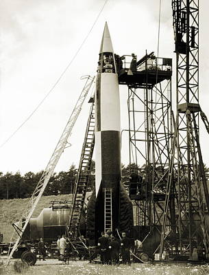 V2 Rocket Photograph - V-2 Prototype Rocket Prior To Launch by Detlev Van Ravenswaay