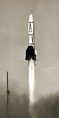 Wernher Von Braun Photograph - V-2 Rocket Launch In Usa by Detlev Van Ravenswaay
