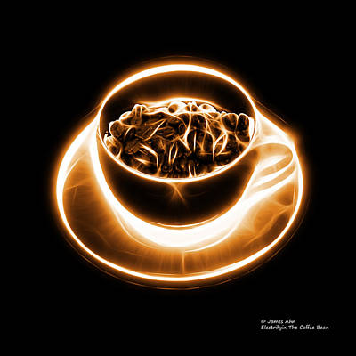 Digital Art - V2-bb-electrifyin The Coffee Bean-orange by James Ahn