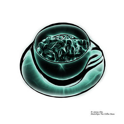 Digital Art - V3-wb-electrifyin The Coffee Bean-cyan by James Ahn