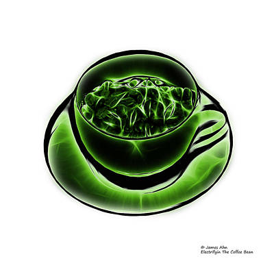 Digital Art - V3-wb-electrifyin The Coffee Bean-green by James Ahn