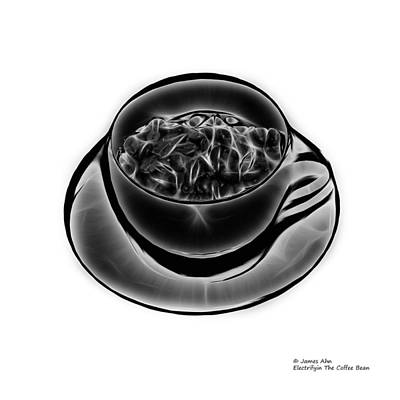 Digital Art - V3-wb-electrifyin The Coffee Bean-greyscale by James Ahn