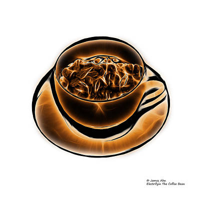 Digital Art - V3-wb-electrifyin The Coffee Bean-orange by James Ahn