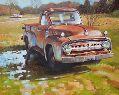 Rusty Truck Painting - V8 by Todd Baxter