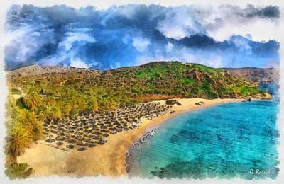 Greek Painting - Vai Beach by George Rossidis