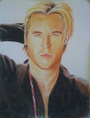 Val Kilmer Wall Art - Drawing - Val Kilmer- Young First Pastel by Anne Provost