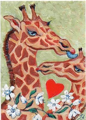Art Print featuring the painting Valentine Giraffes by Doris Blessington