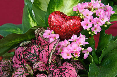 Photograph - Valentine Heart And Flowers by Byron Varvarigos