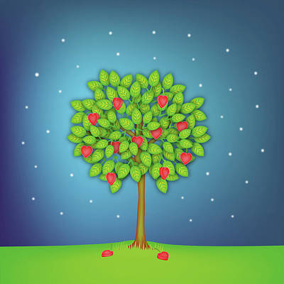 Autumn Landscape Photograph - Valentine Tree With Hearts And Stars by OldBag Illustrations