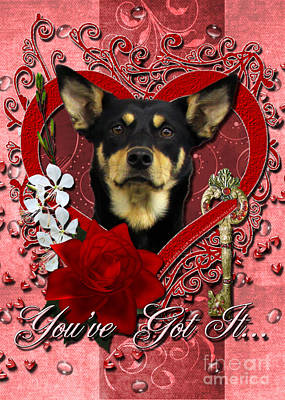 Valentines - Key To My Heart Australian Kelpie Art Print