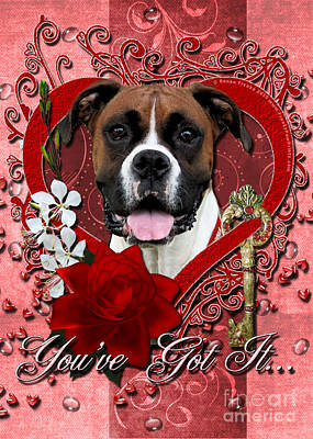 Valentines - Key To My Heart Boxer Art Print by Renae Laughner