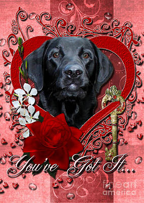 Retriever Digital Art - Valentines - Key To My Heart Labrador by Renae Laughner