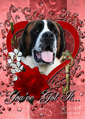 Breed Digital Art - Valentines - Key To My Heart St Bernard by Renae Laughner