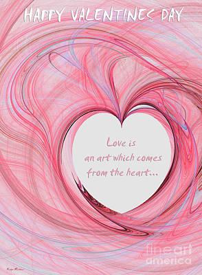 Message Art Digital Art - Valentines Day - Pink by Kaye Menner