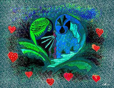 Wall Art - Digital Art - Valentine's Winter - Blue by Lori Kirstein
