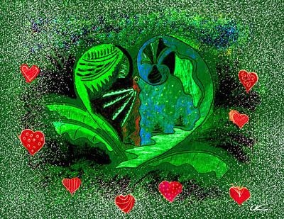 Wall Art - Drawing - Valentine's Winter - Green by Lori Kirstein