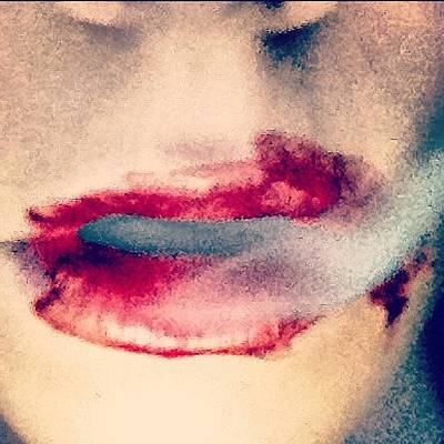 Horror Wall Art - Photograph - #vampire #iphone #lips #sexy by Lucy Perry